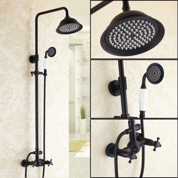 exposed pipe shower and tub faucet. chester exposed shower system without tub spout in antique black pipe and faucet t