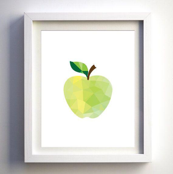 Green Apple Kitchen Print Modern Kitchen Wall Decor