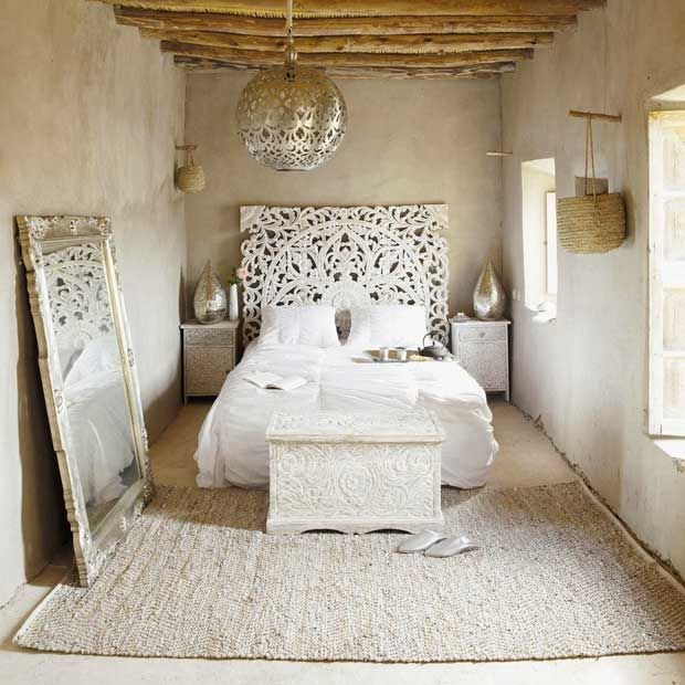 India Inspired Monochromatic White Color And Pattern Interiors And Bedrooms  Guest Room?