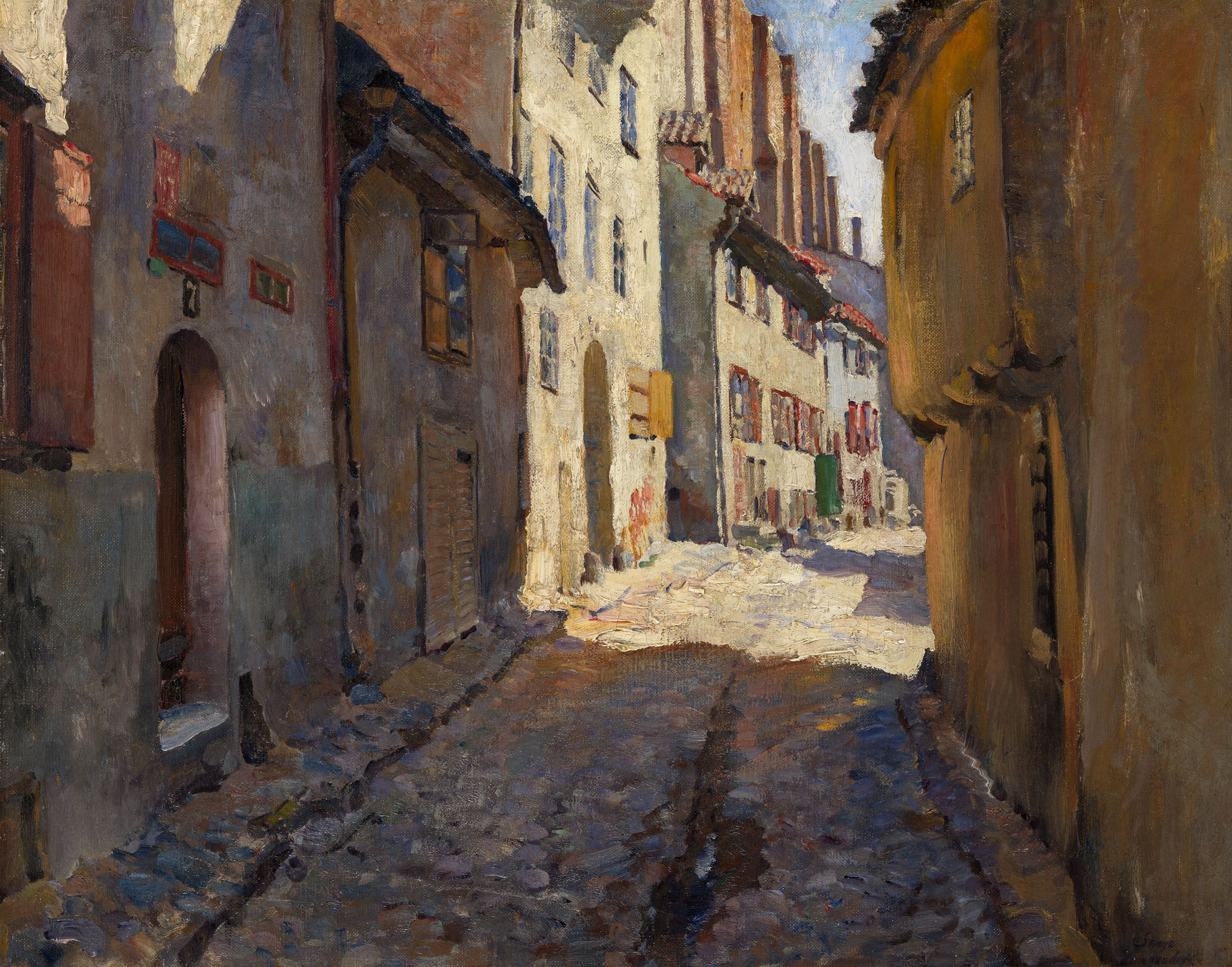 Narrow Street in Riga Sergei Arsenevich Vinogradov - Date unknown |  Peinture, Tableau, Coups de pinceau