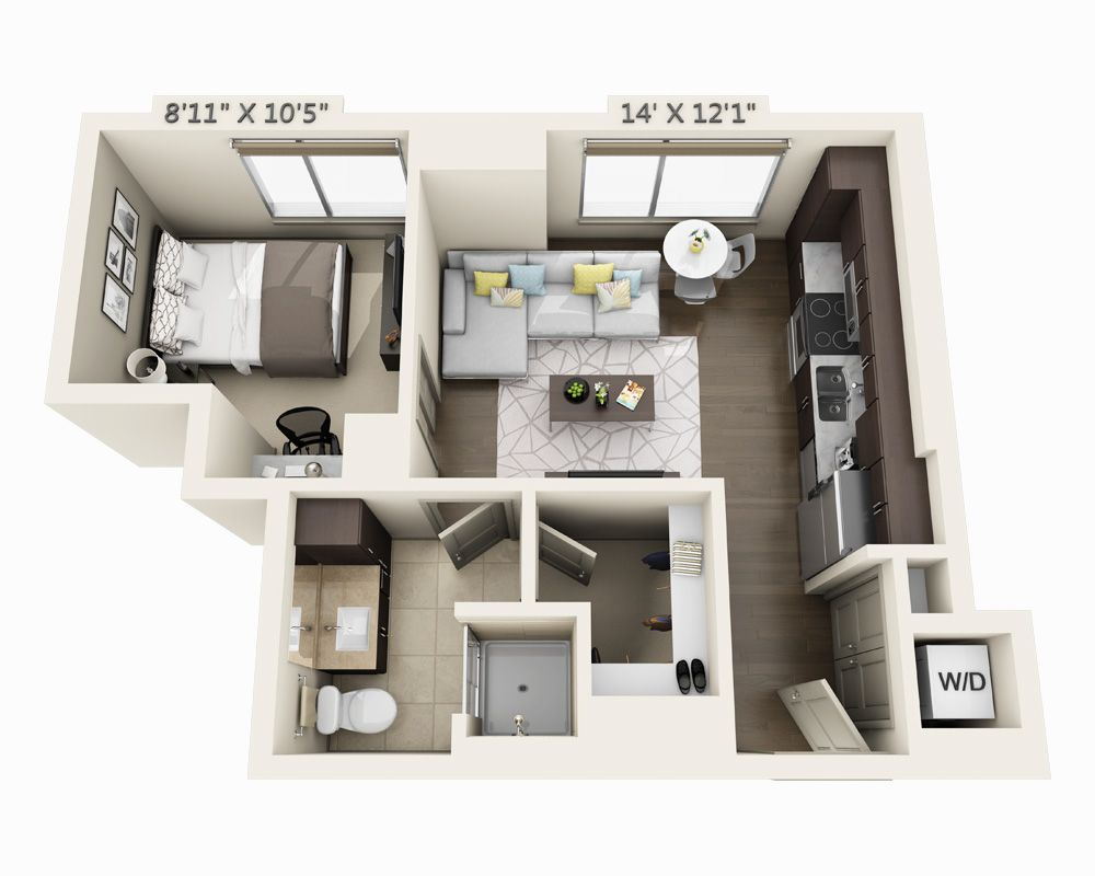 One Bedroom A1a Apartment Layout Sims House Design Small Apartment Design