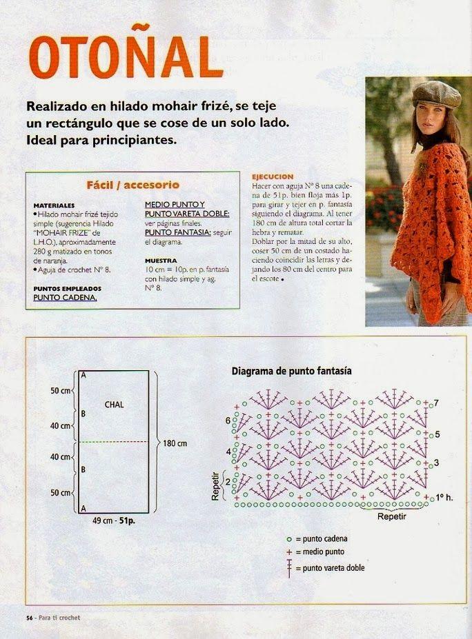 Poncho Otonal Crochet-Tricon Patron - Patrones Crochet | PONCHOS ...