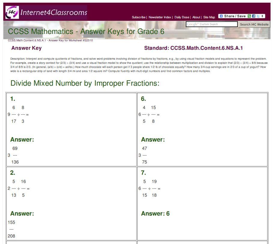 New Answer Keys Available 6th Grade Divide Mixed Number