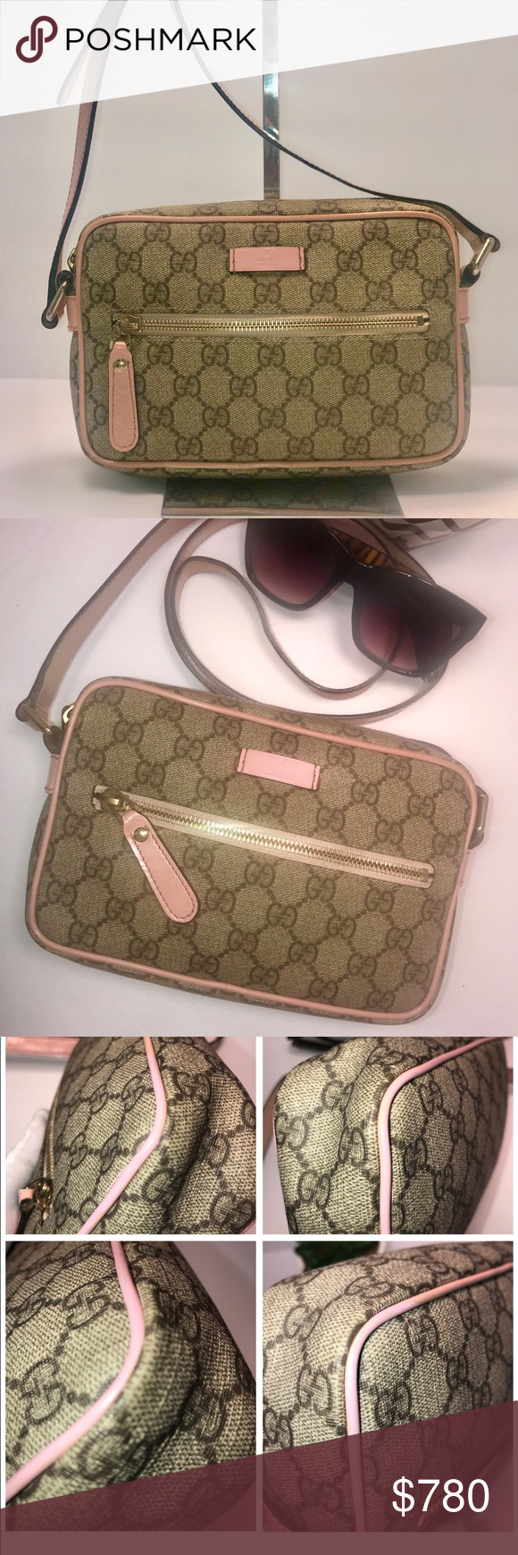 cb59a070f8e8 Authentic Gucci GG Monogram Beige/Pink Sling Bag Authentic Pre-Loved Gucci  GG Web