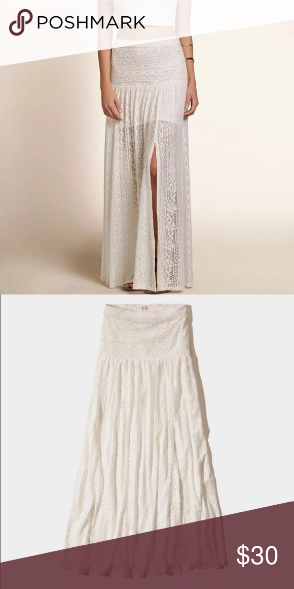 bb04ea3f4 Hollister Long Lace Maxi Skirt Pool Beach Cover up Hollister Lace Maxi Skirt  Cream For Women
