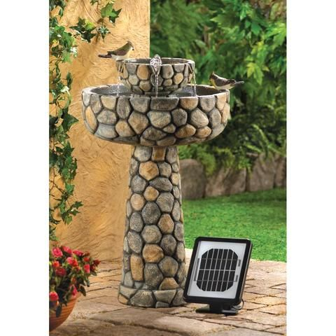 Rustic Wishing Well Cascade Fountain Solar An Electric Power Faux Cobb How Does Your Garden Grow In 2019 Patio Fountain Garden Fountains Diy Water Fountain