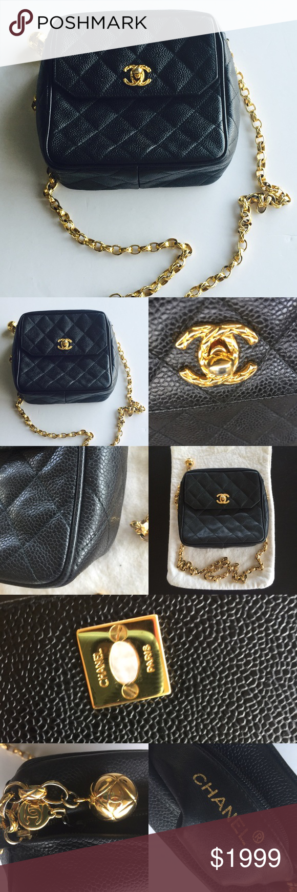 Chanel vintage camera bag made in Italy crossbody Chanel vintage caviar  camera bag made in Italy crossbody. Measurements about 6.5