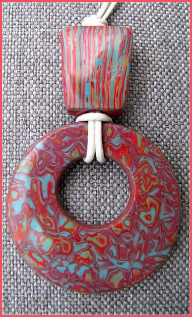 polymer clay mokume gane pendant by Savary Delphine