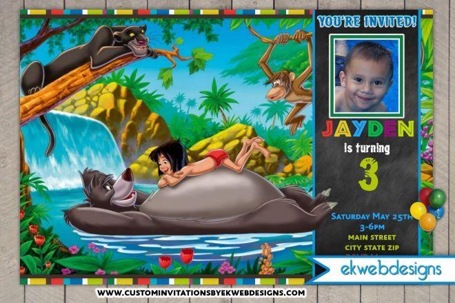 The Jungle Book Birthday Invitations   the jungle book   Pinterest ...