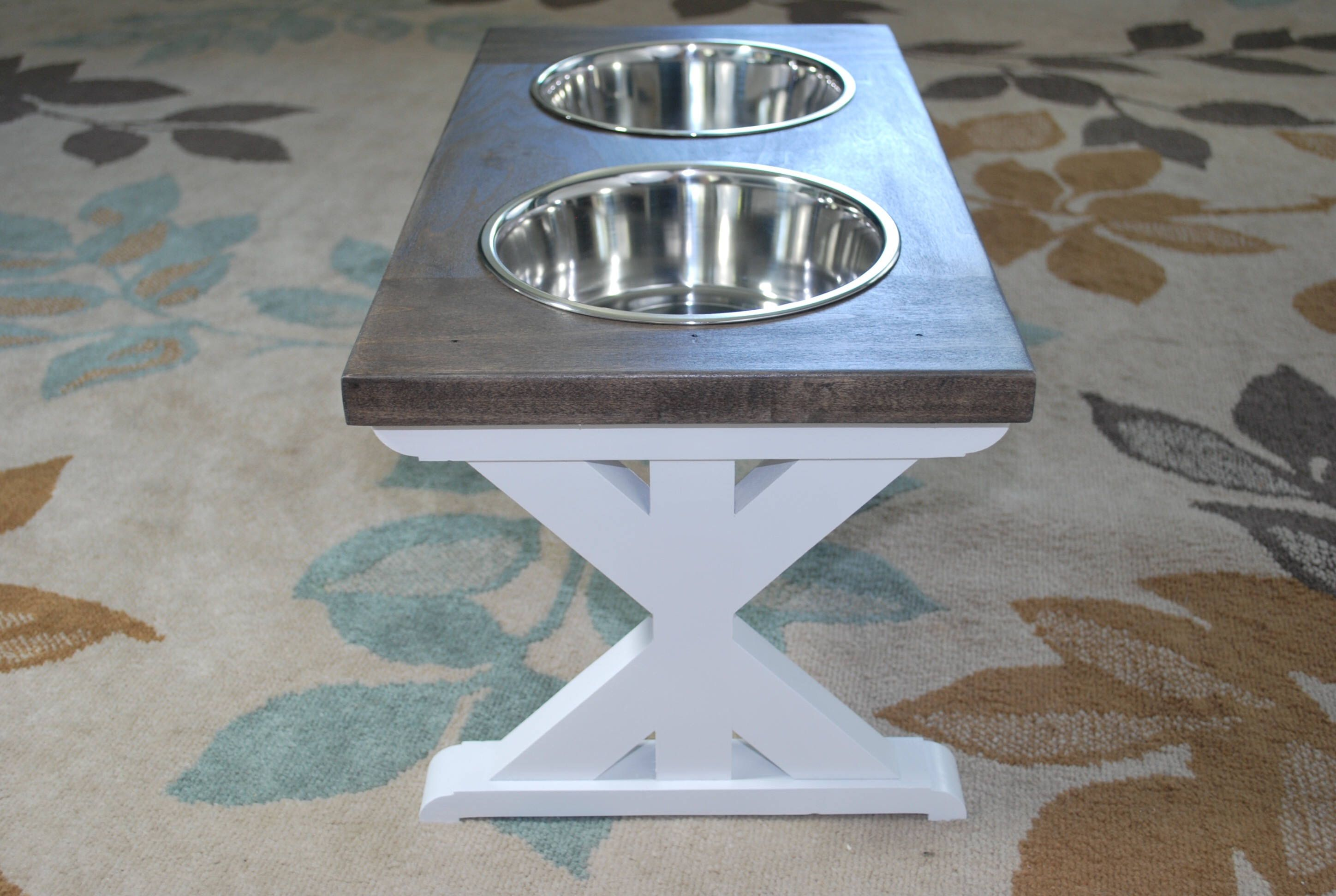 Large Elevated Dog Bowl Stand Farmhouse Trestle Table Raised