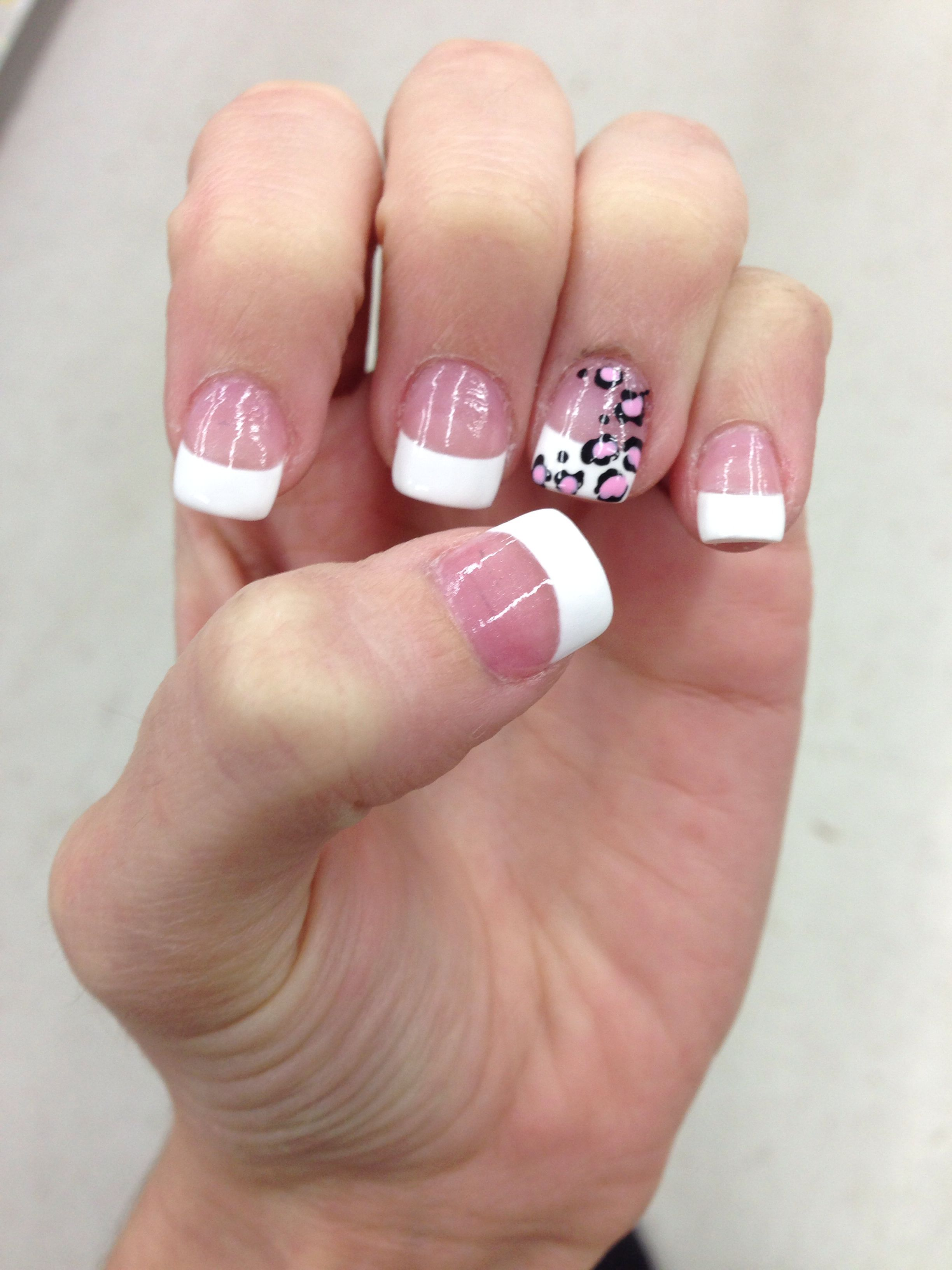 French Tip With Cheetah Fancy Nails French Nail Designs Nails