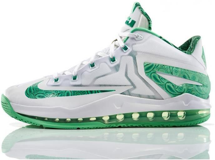 super popular 78d17 b06f2 Lebron 11 Low Green White