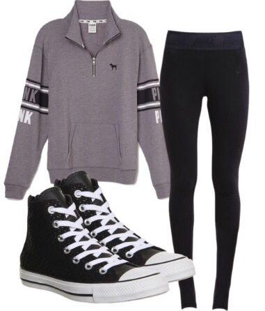 Comfy sweatshirt, leggings or jeggings, and sneakers or