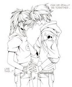 Anime Love Kiss Kiss Coloring Page