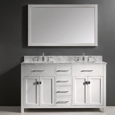 "Virtu Caroline 60"" Double Bathroom Vanity Set With Mirror Adorable Bathroom Cabinet Reviews Design Inspiration"