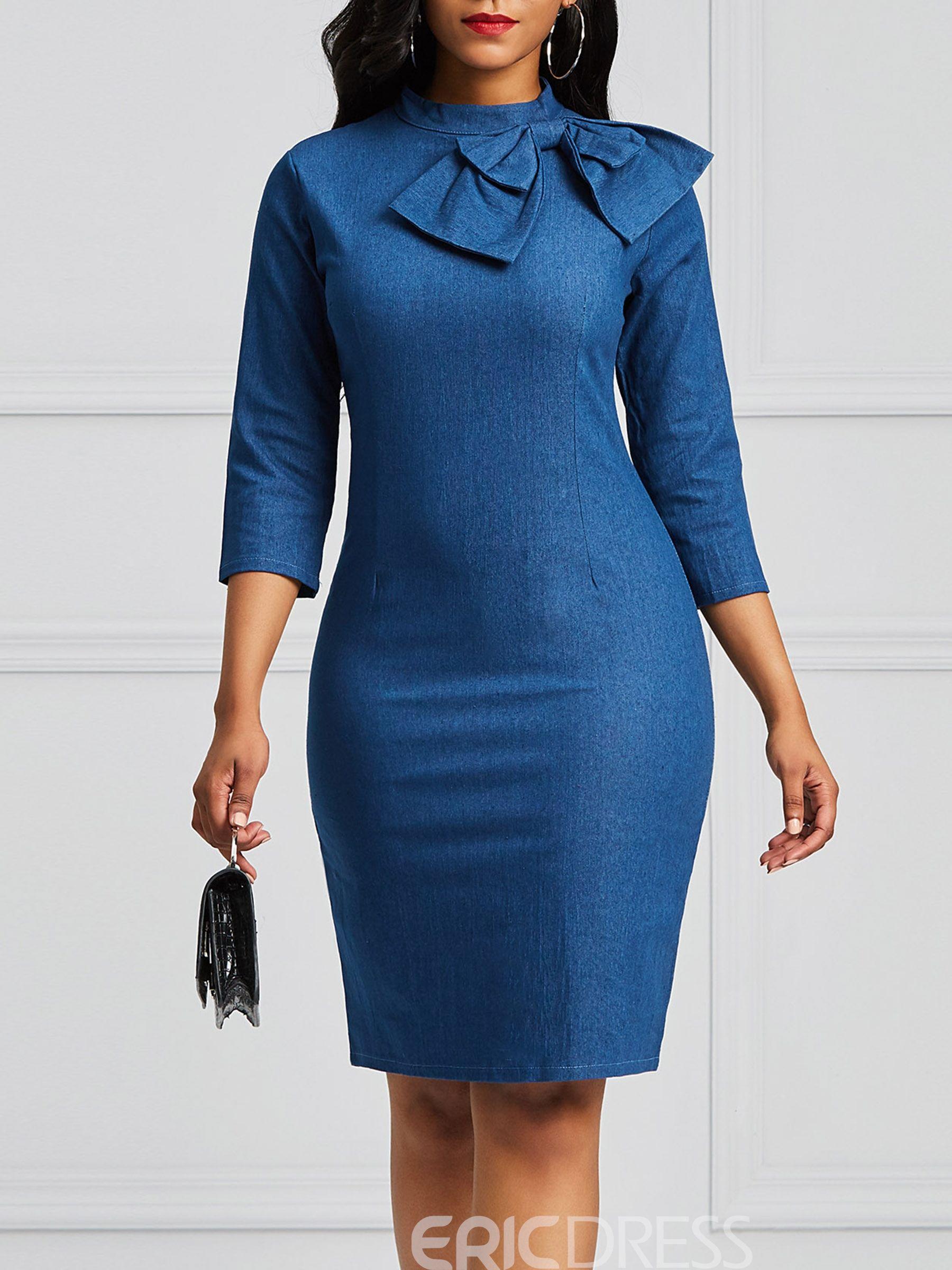 Ericdress Bowknot Women S Denim Bodycon Dress Denim Bodycon Dress Bodycon Dress Women Bodycon Dress [ 2400 x 1800 Pixel ]
