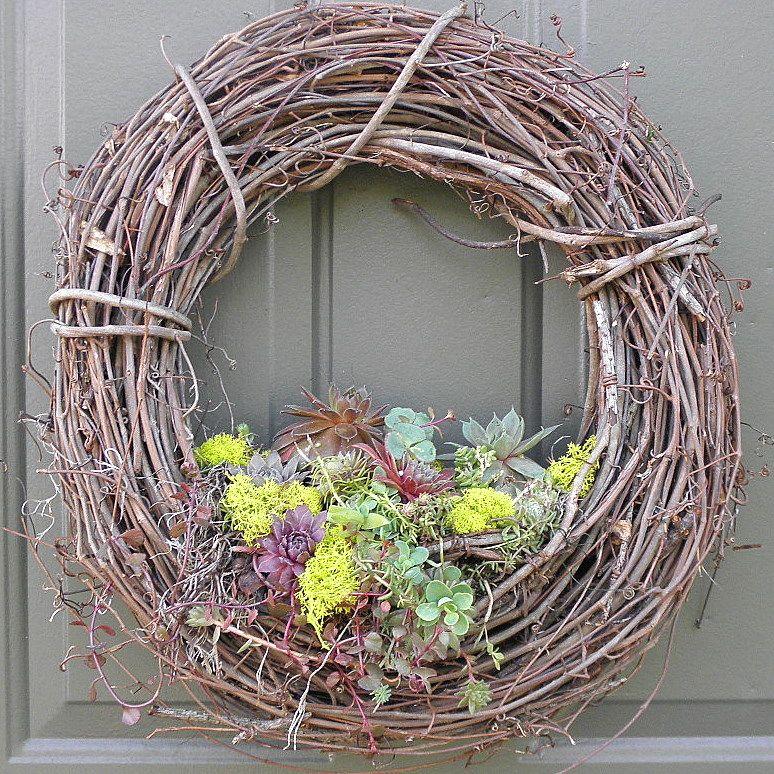grape vine wreath with succulents