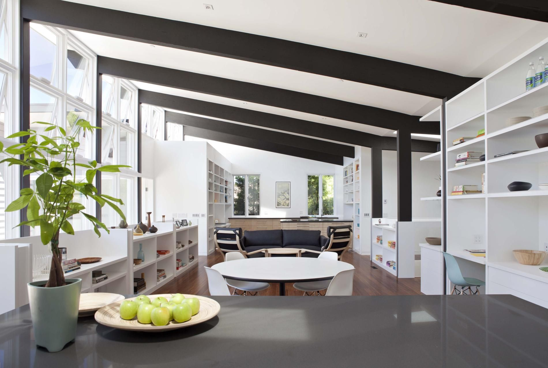 Midcentury modern ceiling beams architecture warms san