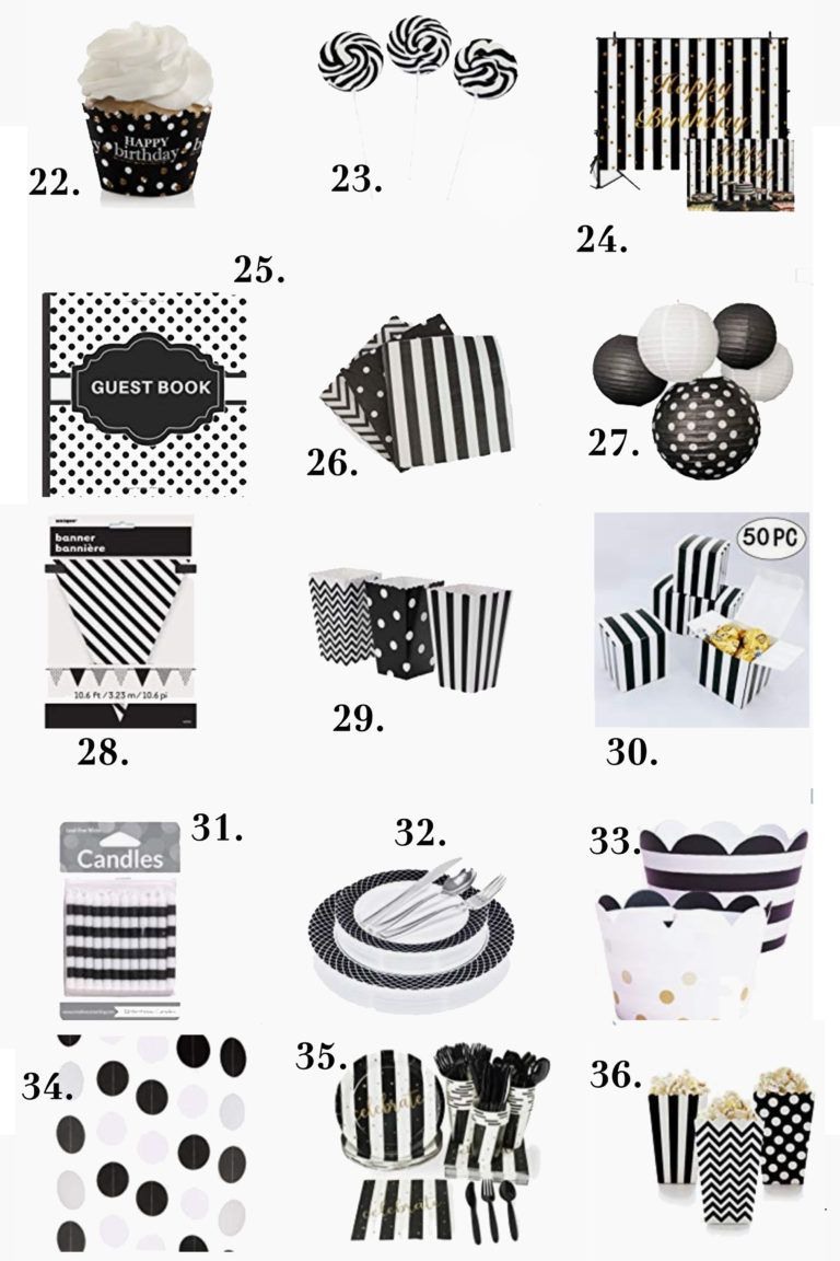 Black and White Birthday Party Decorations Ideas For Adults #50thbirthdaypartydecorations