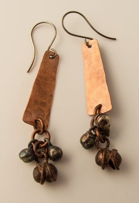 Hammered Copper Earrings with Copper Bells  Renuko Style   $30