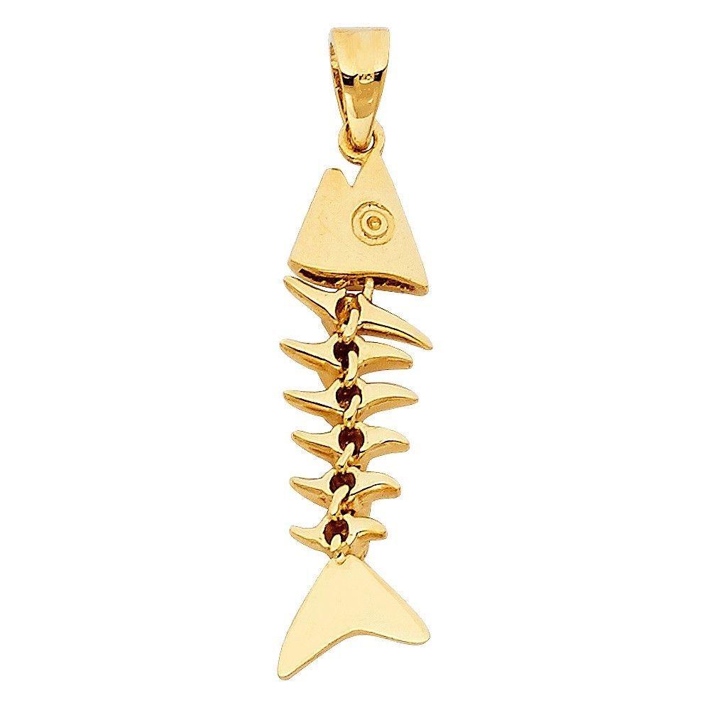 14k Yellow Gold Polished Jesus Fish Pendant