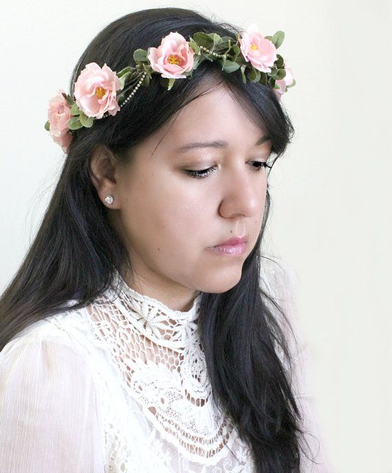 Pink Roses Bridal Floral Crown Flower Crown. by rosesandlemons, $55.00