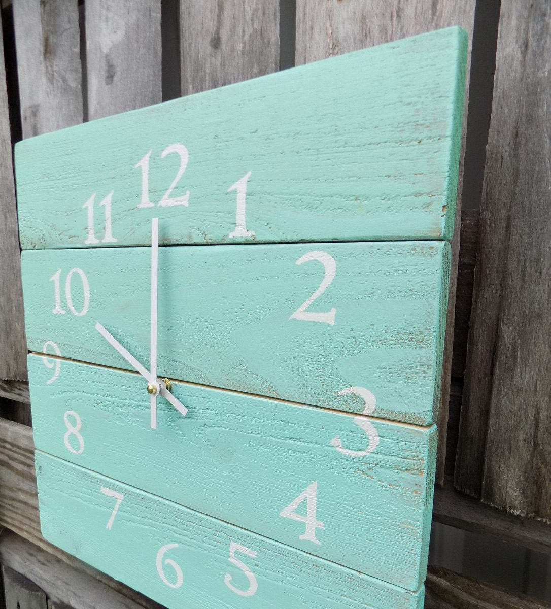 This rustic beach themed wall clock is made of pallet like wood this rustic beach themed wall clock is made of pallet like wood painted and distressed amipublicfo Images