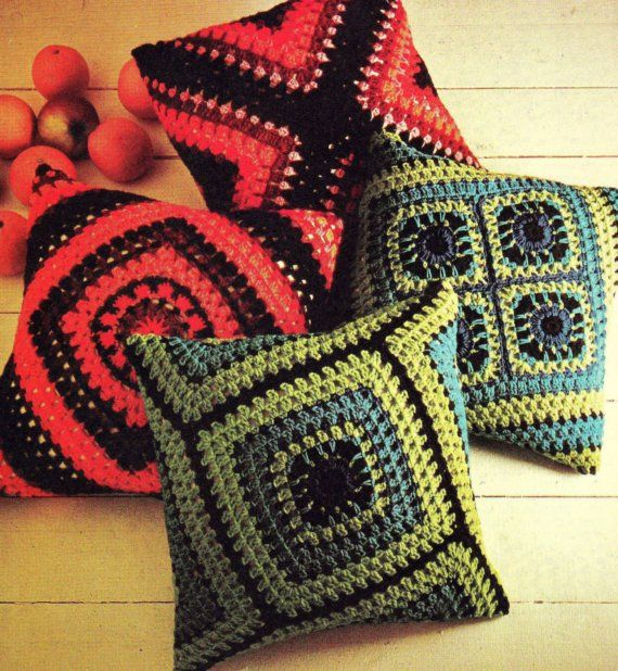 CROCHET PATTERN Granny Squares Cushion Pillow Cover Retro Vintage ...