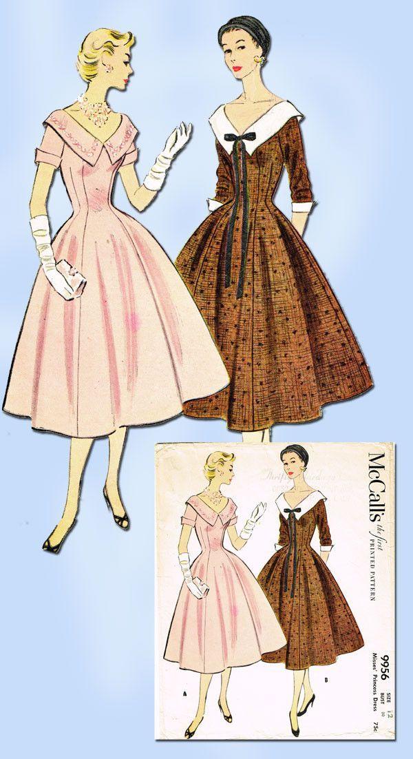 Vintage Dress 1954 Mccalls Pattern Size Misses 1950s 9956 Sewing Vtg XOPZTiuk
