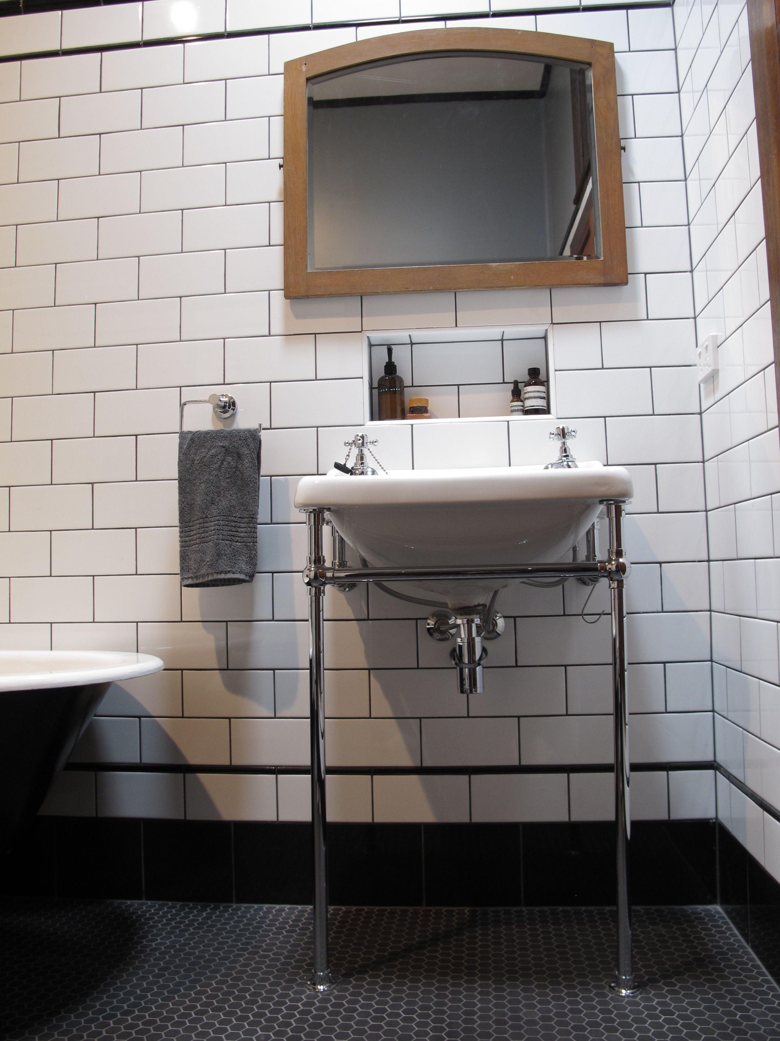 Charcoal grey bathroom tiles - Our Latest Bathroom Renovation Subway Tiles Black Border And Pencil Tiles Grey Grout