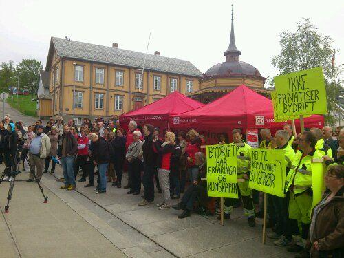 Frå markeringa mot privatisering i Tromsø