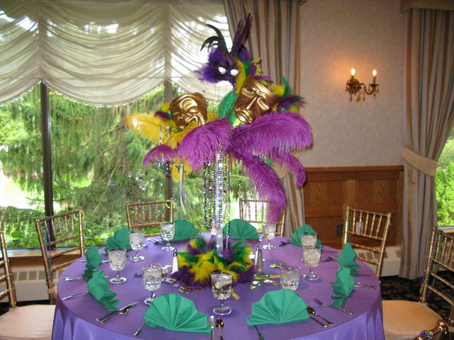 Custom Mardi Gras themed centerpieces for a very special sweet 16 in