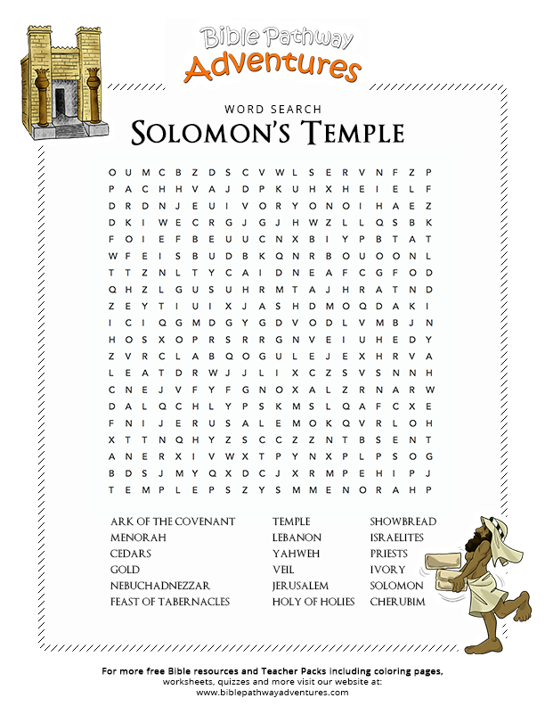 Bible Word Search Solomons Temple Ccd Sunday School