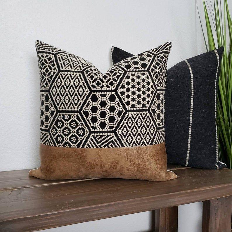 Faux leather pillow modern farmhouse farmhouse pillow fall