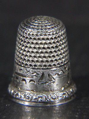 Vtg Percival Co Boston MA c1900 Sterling Silver Scenic Sewing Thimble Size 7   eBay