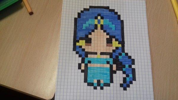 Princesse Jasmine Pixel Art Modele Dessin Pixel Dessin