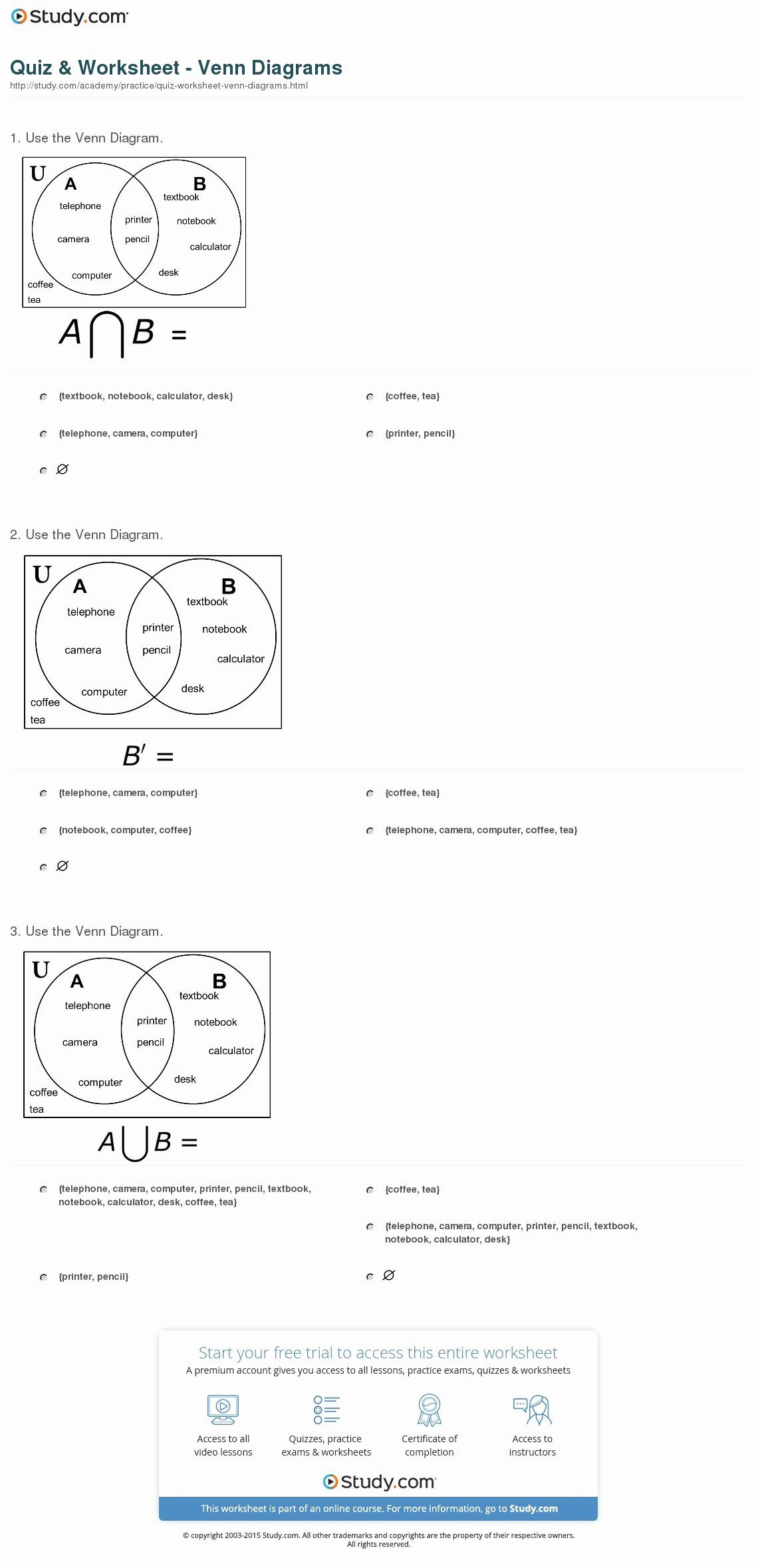 Venn Diagrams Worksheet Best Of Quiz Amp Worksheet Venn
