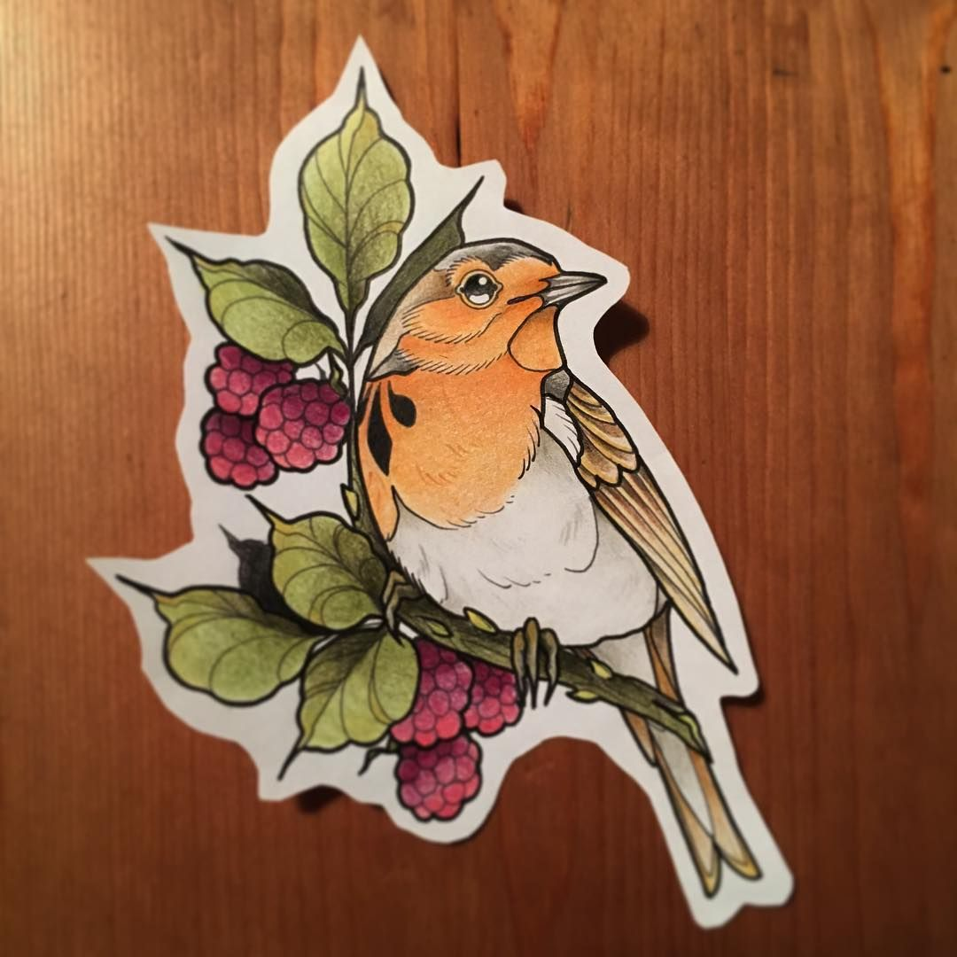 Robin 3 Neo Traditional Robin Bird Tattoos Tattoo Illustration Tattoos