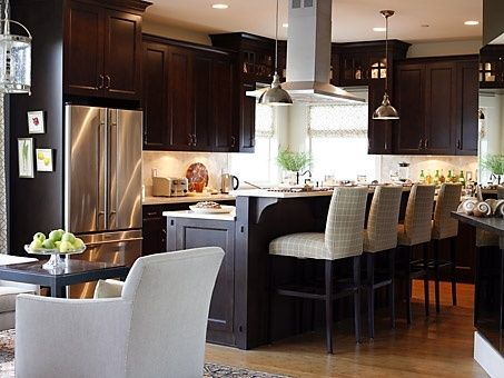 Dark kitchen cabinets and barstools