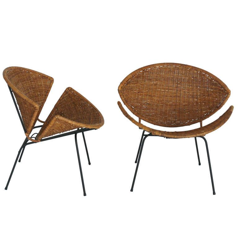 1stdibs Wicker And Iron Scoop Chairs By John Salterini Ca 1950 S