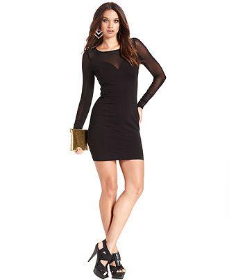 Guess Dress Renee Long Sleeve Mesh Mini Womens Dresses Macys