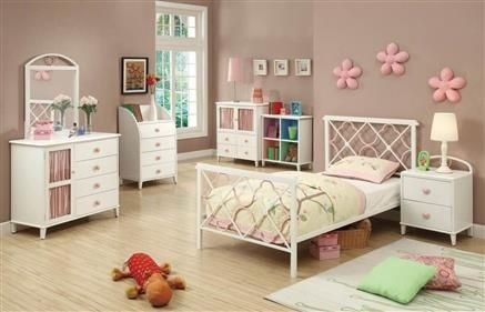 Casual White Metal Twin Size Bed