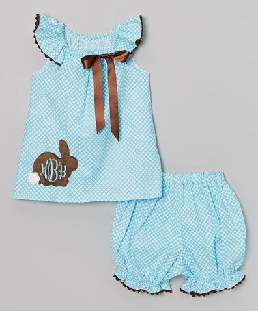 Aqua Polka Dot Bunny Monogram Dress Set Infant Toddler