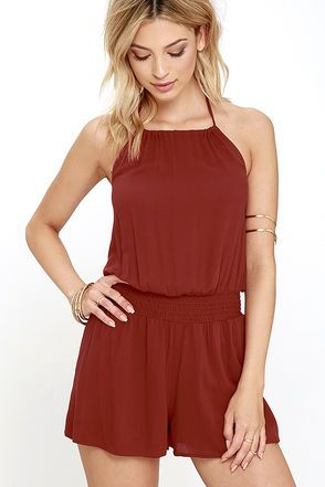 2d4b1c74862 Take the Leap Rust Red Romper