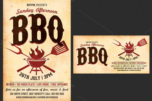 Barbecue-BBQ Flyer Template | Creative, Flyer template and Restaurant
