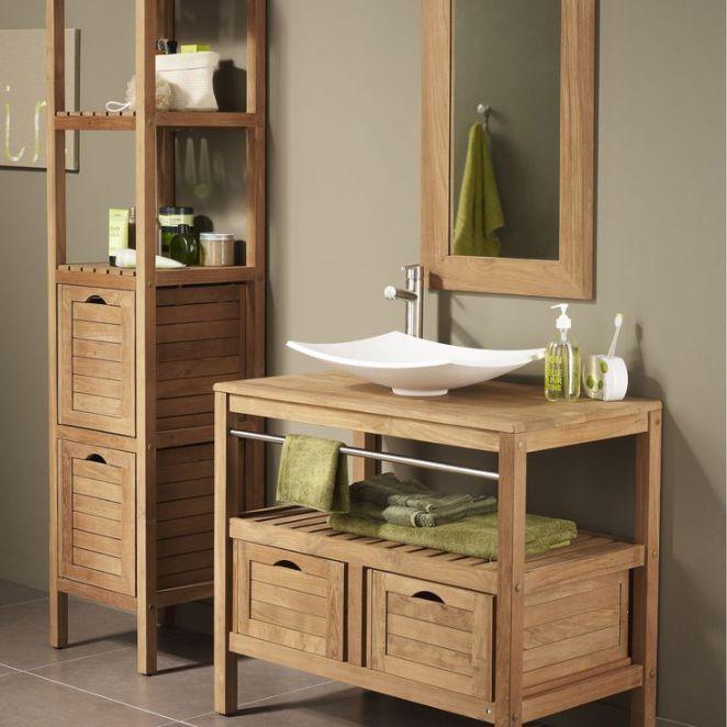 Idée décoration Salle de bain Meuble bois salle de bain leroy merlin