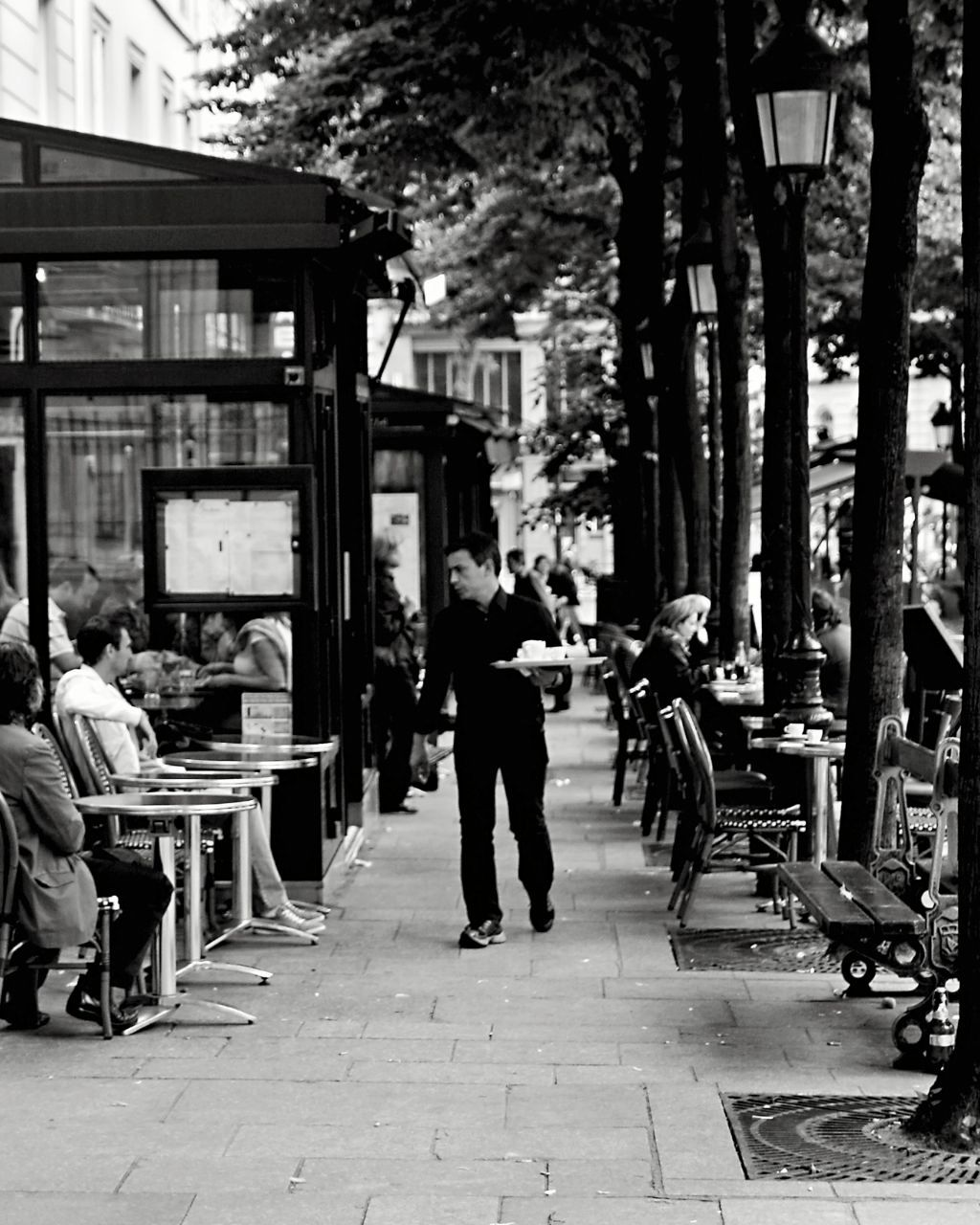 paris black and white photography - dinner is served - french cafe