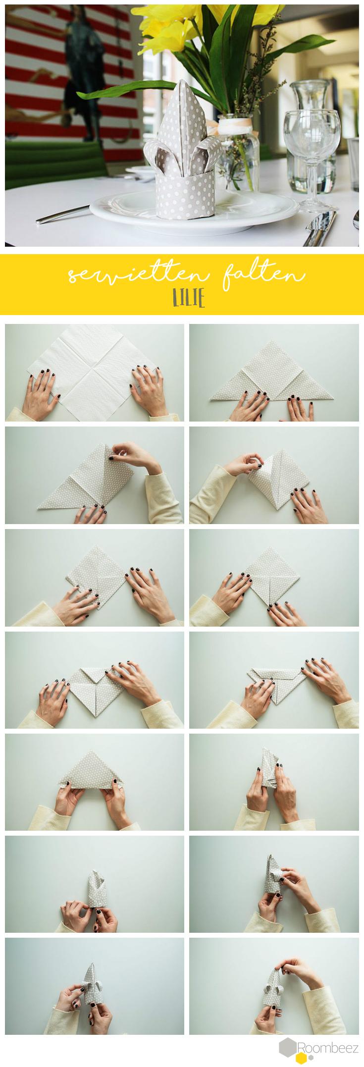 Servietten falten » 15 Anleitungen und Videos #serviettenfalten