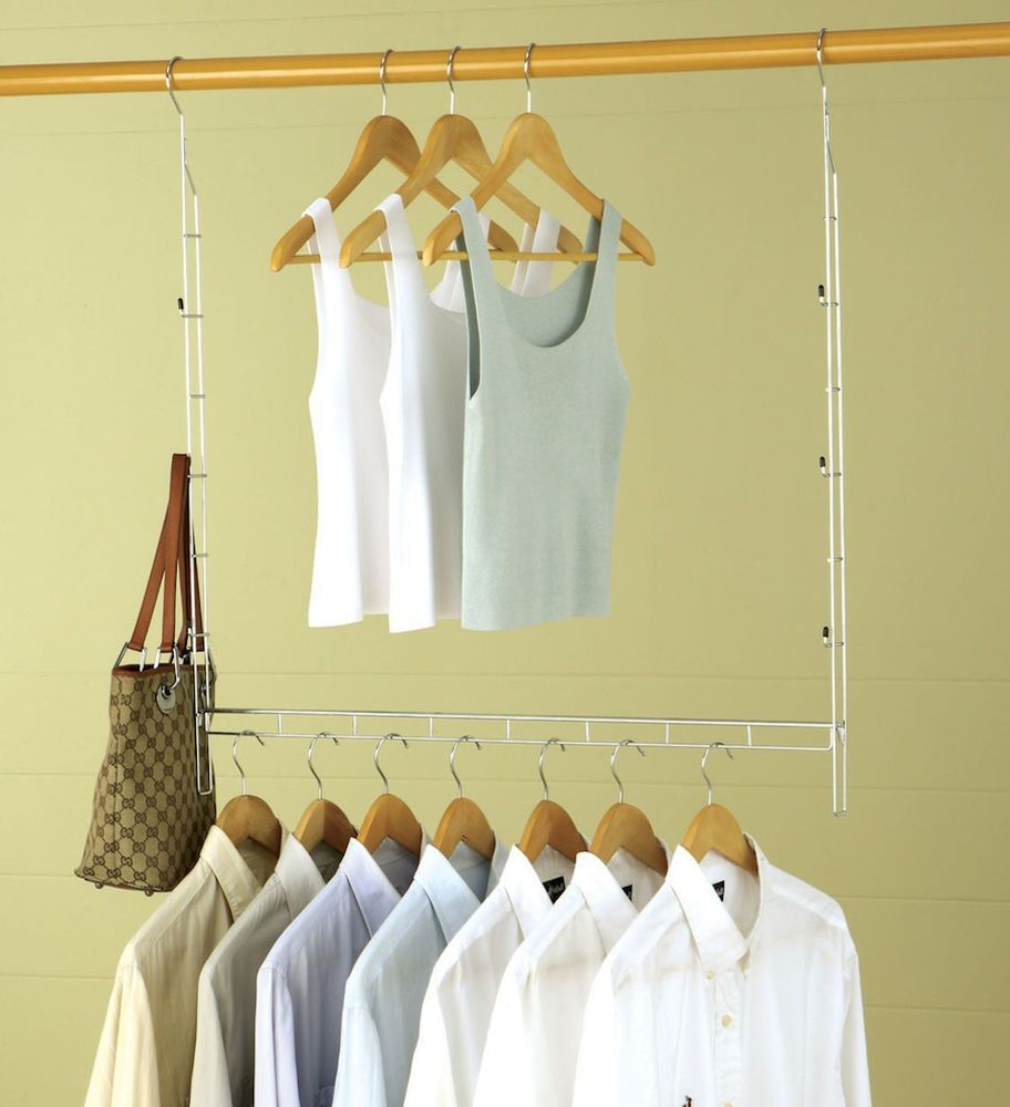 Closet Doubler Rod Double Hanging Clothes Storage Organizer Bar Expand  System #OrganizeItAll