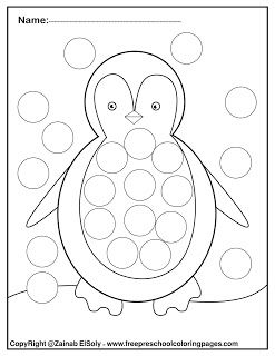 Set of Winter Dot Marker free pages for kids #penguincraft